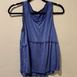 Dark Blue Tank with Lacey Edges
